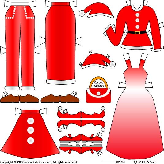Kids idea craft paper doll1 christmas clothes
